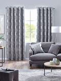 PAIRS OF SILVER SHIMMERY OAK TREES LIGHT GREY THICK VELVET LINED EYELET CURTAINS